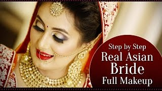 Real Asian Bridal Makeup Tutorial | Step by Step Indian Bridal Makeup with Golden Glitter Eyes