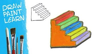 Learn Colors   Stairs Drawing and Coloring Pages for Kids   Painting for Children & Toddlers