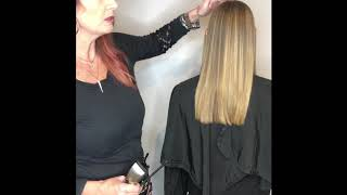 Straight haircut with clippers on keratin smooth flatironed hair