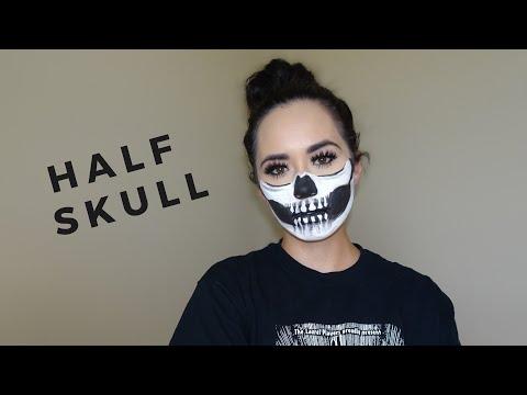 Half Skull :Halloween Makeup Tutorial | Natalya & Caiden thumbnail