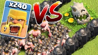 DRAGON SKELETON vs. 240 BARBS!! | Clash of clans | TROLL MAZE!!