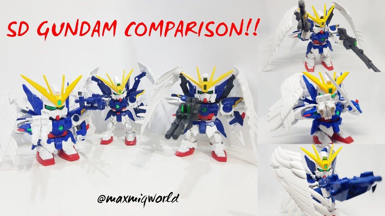SD GUNDAM COMPARISON!! BB - Ex Standart - Cross Silhouette Wing Gundam Zero Custom