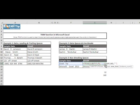 Remove Extra, Leading & Trailing Spaces using TRIM function in Excel