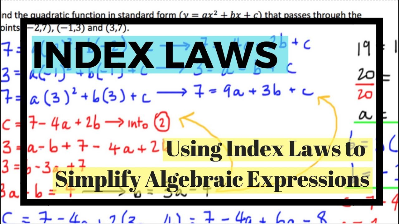 Simplification of algebraic expression using index laws youtube simplification of algebraic expression using index laws falaconquin