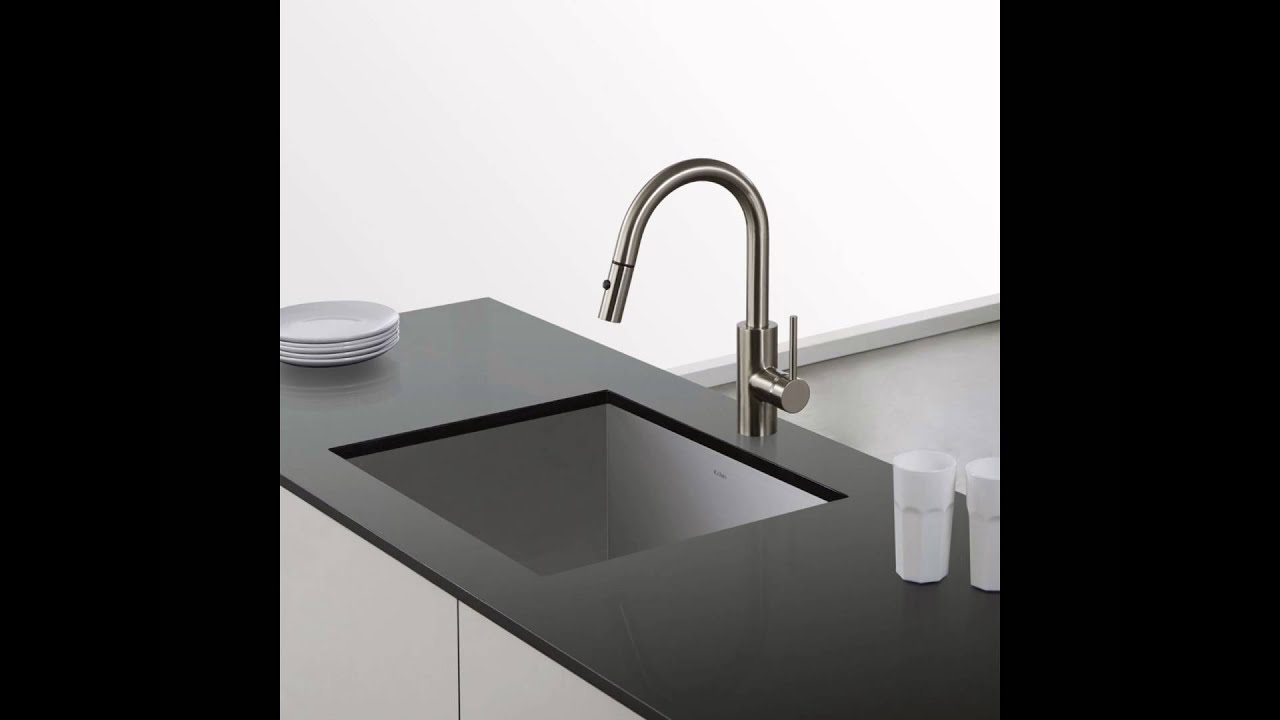 Kraus KPF 2620SS Modern Mateo Single Lever Pull Down Kitchen Faucet,  Stainless Steel