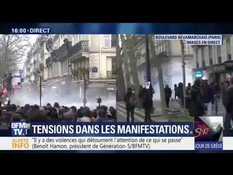 A Paris Des Heurts En Tete De Cortege De La Manifestation Youtube