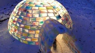 Красиво сделано из цветного льда.