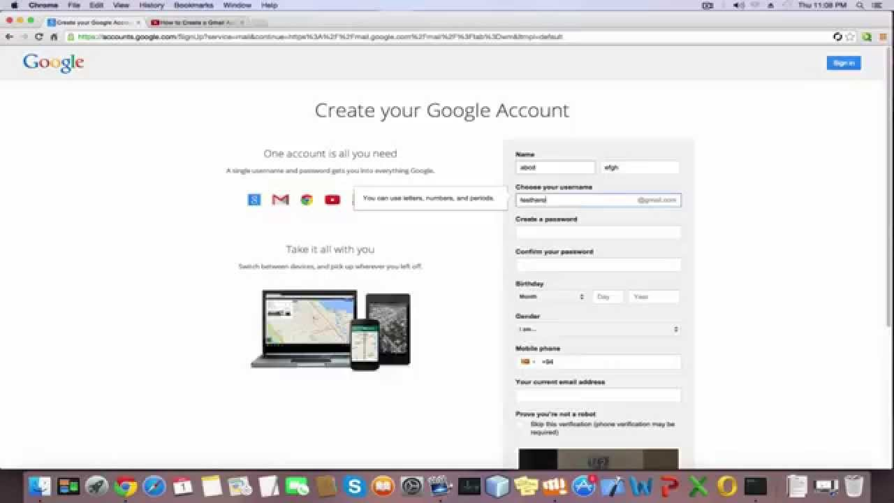 Google email id create account