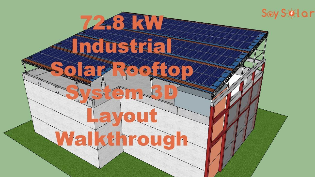 72 8 kW Industrial Solar Power Plant 3D Layout Plan | Advance Shadow  Analysis