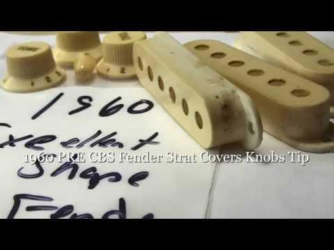 1960 PRE CBS Fender Strat Covers Knobs & Tip.. It's Art! EddieVegas.com