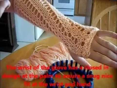 How to loom knit long fingerless gloves part 1 - YouTube