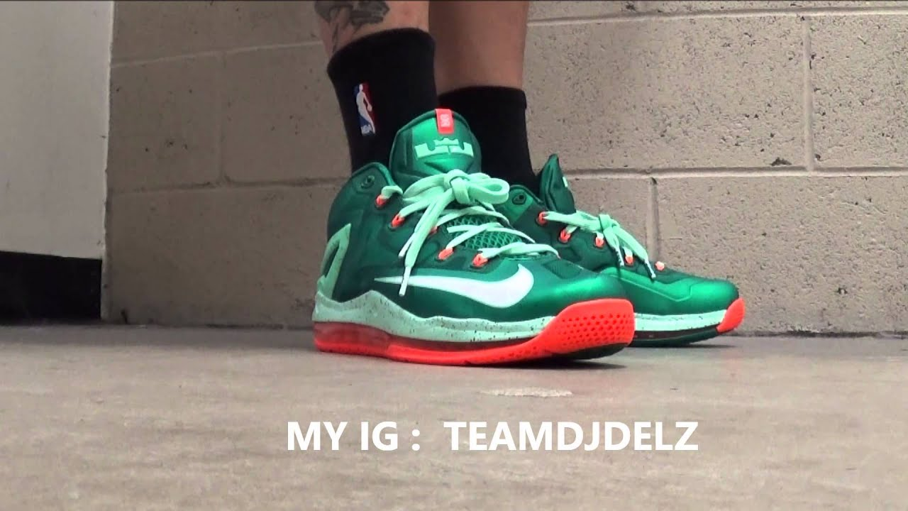 Nike Lebron 11 Low Miami Lucid Green Mint Orange Sneaker On Foot With DJ  Delz - YouTube