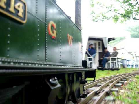 "GWR 14xx model locomotive 5"" gauge live steam on railway in Tilburg"