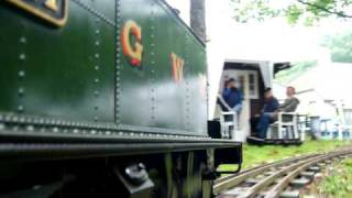 "GWR 14xx model locomotive 5"" gauge live steam on railway in Tilburg"