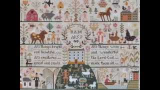 All creatures great & small, a cross stitch sampler designed by Barbara Ana