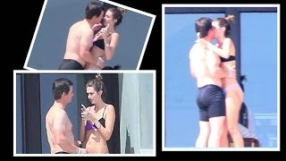 Shirtless Mark Wahlberg Kisses Bikini-Clad Wife Rhea Durham During Hot & Heavy Vacation in Mexico