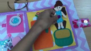 Quiet book #1 Nataly Koshel (мягкая книжка #1 Кукольный домик)(Видео-обзор мягкой книжки-домика для куклы из фетра с одеждой, комнаты: спальня, гардеробная, кухня, спальня...., 2016-07-15T08:27:15.000Z)