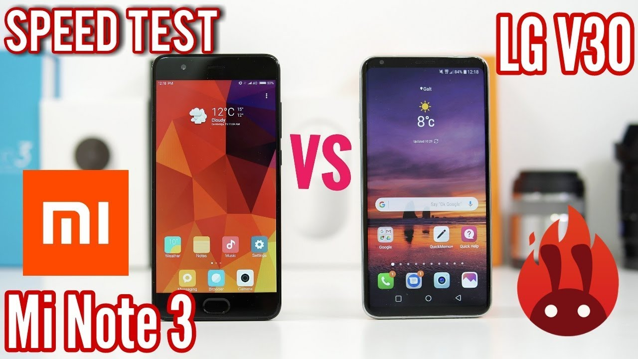 Xiaomi Mi Note 3 VS LG V30 Speed Test