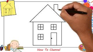 How to draw a house EASY step by step for kids, beginners, children 3