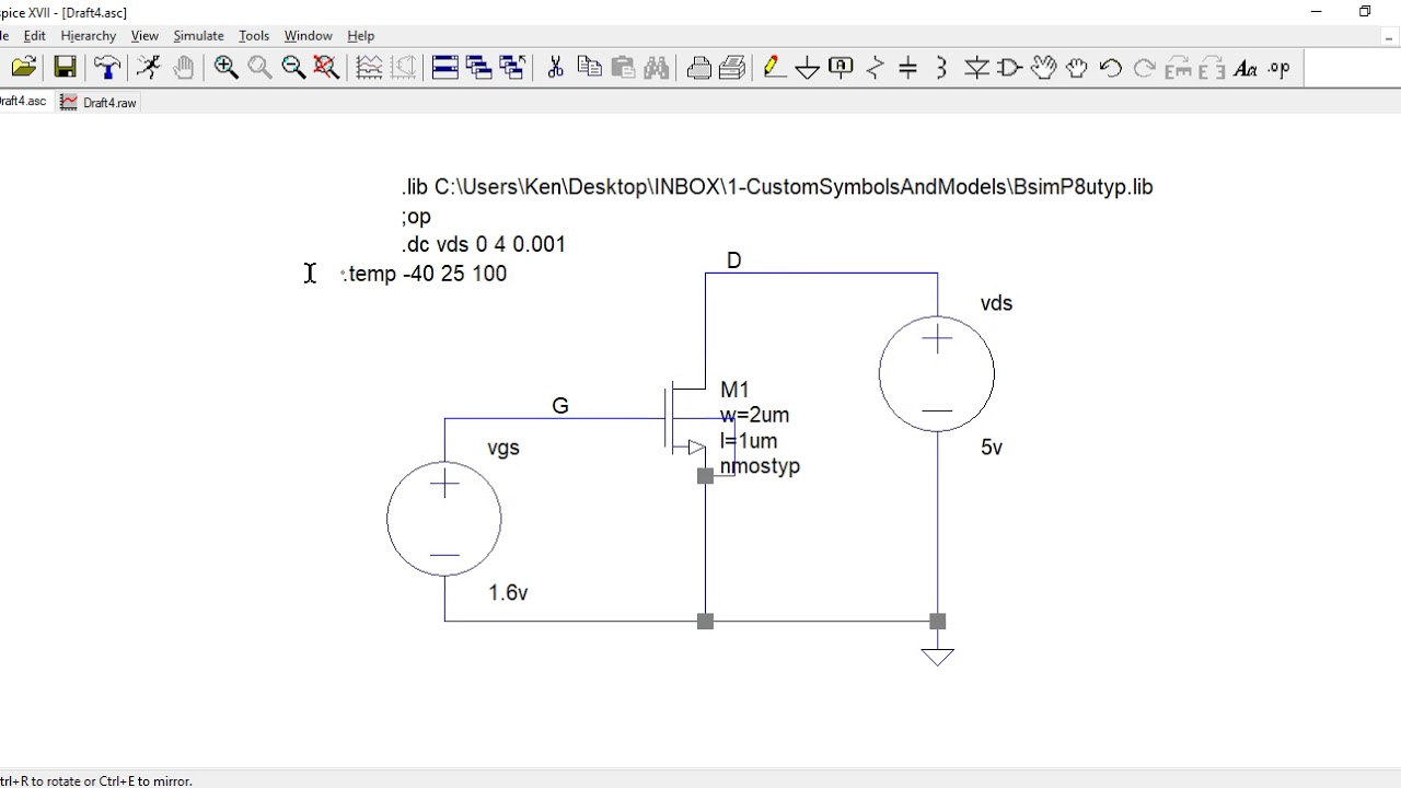MOSFET output conductance using LTspice
