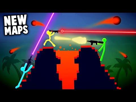 NEW Stick Fight ERUPTING VOLCANO & Black Hole Maps (Stick Fight New Update Gameplay)