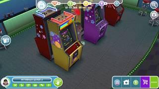 """Зал игровых автоматов в The Sims FreePlay . Хобби """"Автоматы с игрушками"""", """"Видеоигры"""", """"Пинбол"""""""