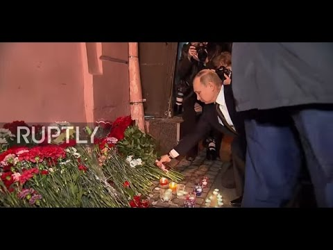 Russia: Putin lays flowers at Technology Institute metro station