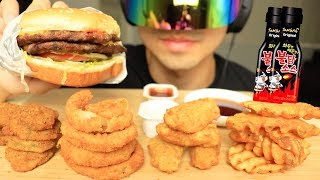 Asmr spicy samyang sauce + carl's jr ...