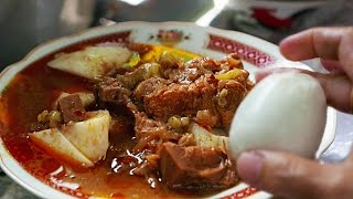 Indonesia Street Food: Mutton Curry Lontong with Egg and Ketoprak