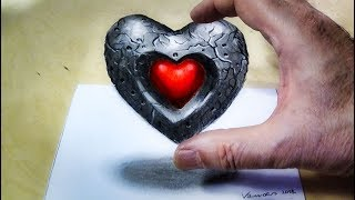 How to Draw Heart - Drawing Floating Heart - 3D Trick Art