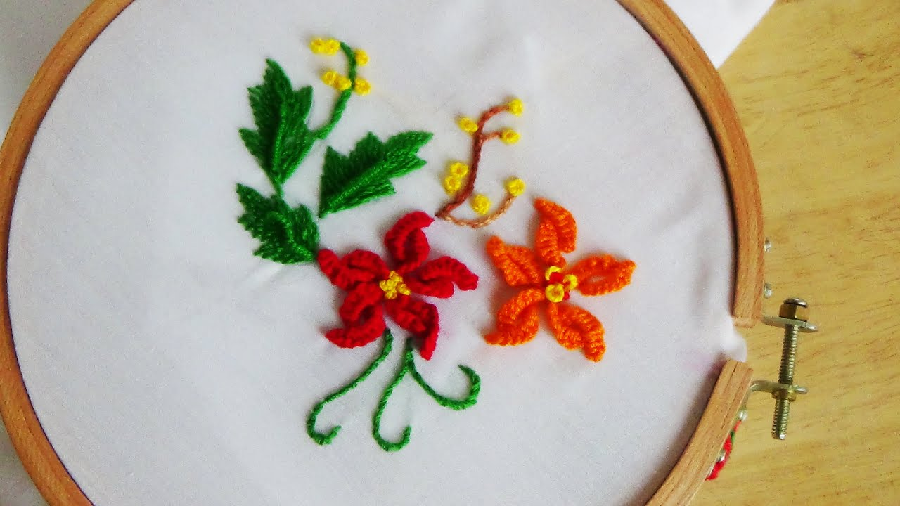 Pillowcase Flower Design: Hand Embroidery  Flower For Pillow Case Stitch   YouTube,