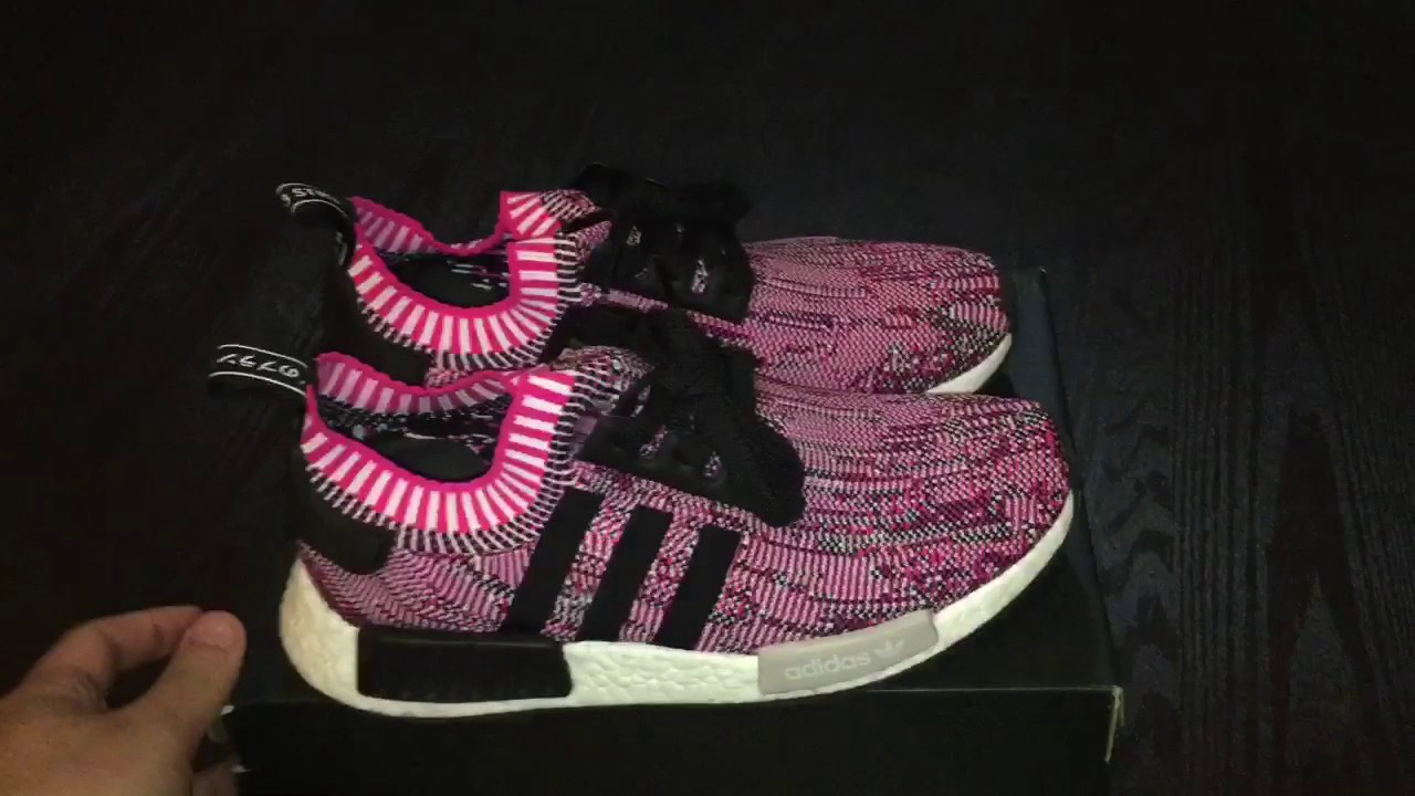 64b7cfc341e4d Adidas NMD R1 Woman shock pink review  on feet (unboxing) - YouTube