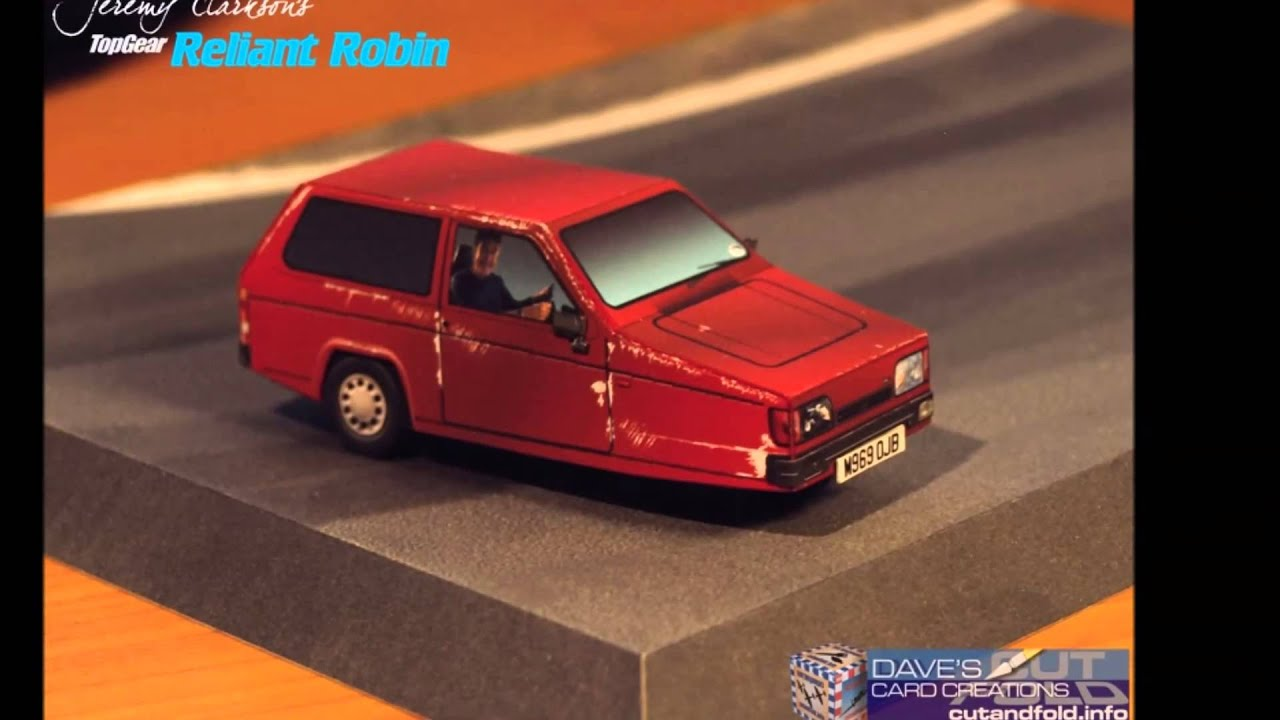 Papercraft Top Gear Jeremy Clarkson Reliant Robin KoolWheelz Paper Model
