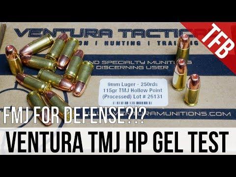 Would You Choose FMJ For Defense?!? Ventura 9mm 115gr TMJ Gel Test
