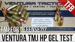 Would You Choose FMJ For Defense?!? Ventura 9mm 115gr TMJ Gel Test