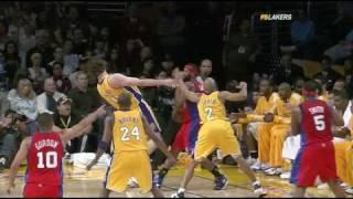 Clippers @ Lakers - Baron Davis Elbows Pau Gasol 01.15.10