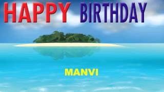 Manvi  Card Tarjeta - Happy Birthday