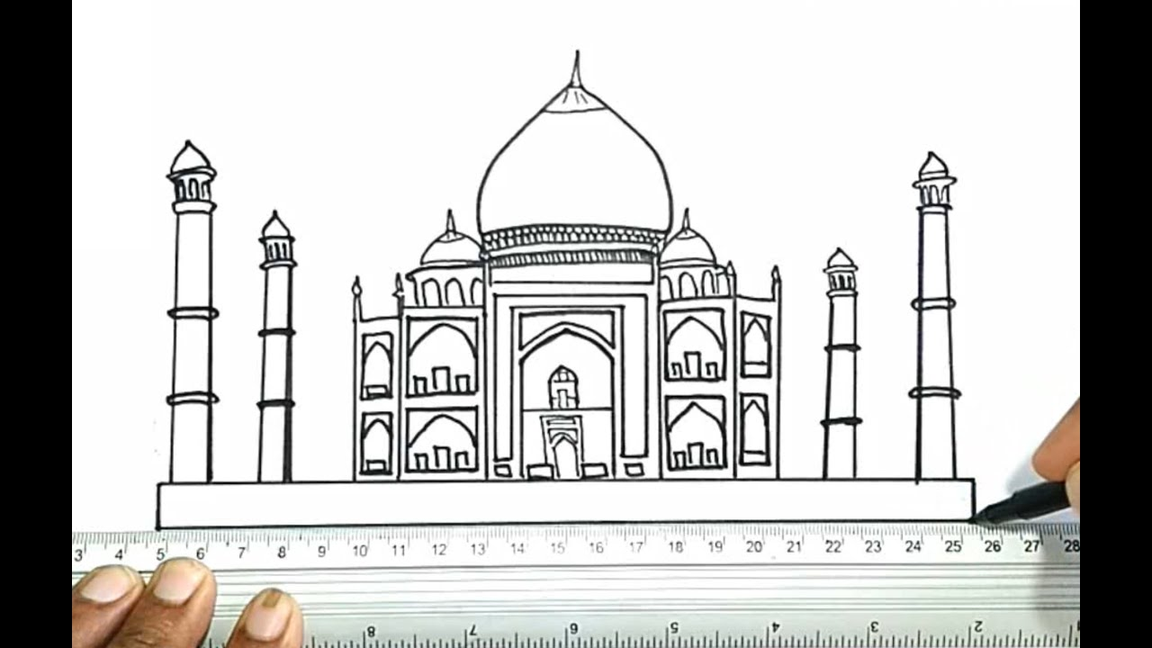 how to draw the taj mahal youtube