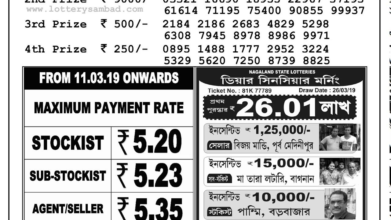 West Bengal Lottery Banga Lakshmi Torsha Result 26-03-2019