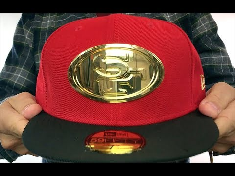 8b1ad59a4 49ers 'GOLD METAL-BADGE' Red-Black Fitted Hat by New Era - YouTube
