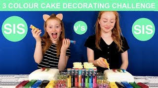 3 COLOR CAKE DECORATING CHALLENGE | SIS v's SIS | Ruby & Raylee