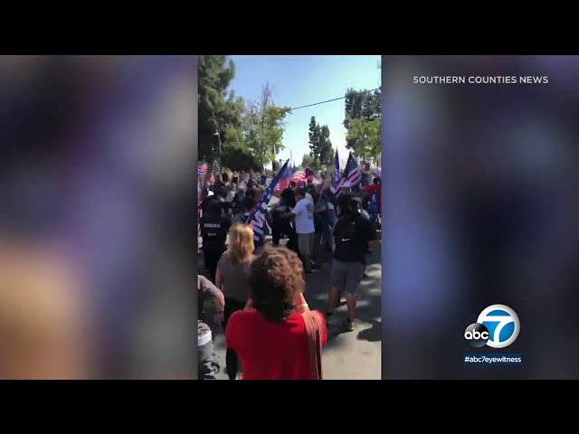 Car drives through Black Lives Matter protesters, counter-protesters in Yorba Linda | ABC7