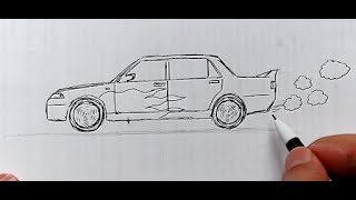 Как нарисовать Машину Ручкой поэтапно