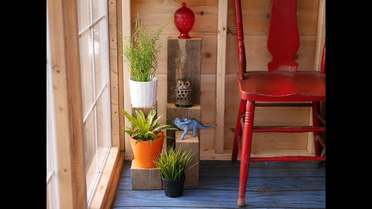 Diy scrap wood plant stands in a salvaged material greenhouse cabin flea market finds youtube - Scrap wood decorated house ...
