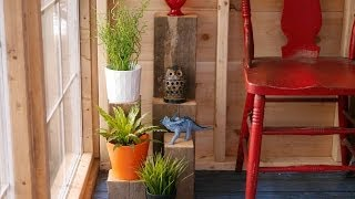 Diy Scrap Wood Plant Stands, In A Salvaged Material Greenhouse/cabin (flea Market Finds)