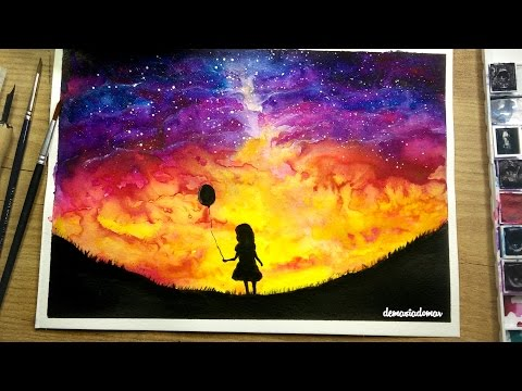 Girl With a Balloon  [Watercolor Speed Painting]