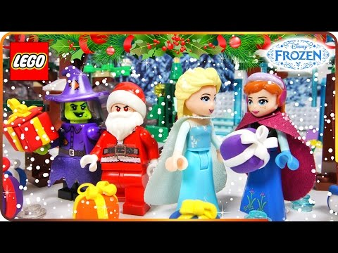 ♥ LEGO Disney Frozen Elsa CHRISTMAS SURPRISE by Santa Claus Belle Anna Rapunzel Vampire