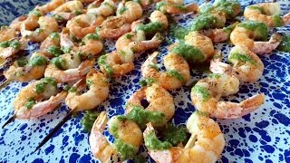 GRILLED SHRIMP SKEWERS WITH CHIMICHURRI SAUCE