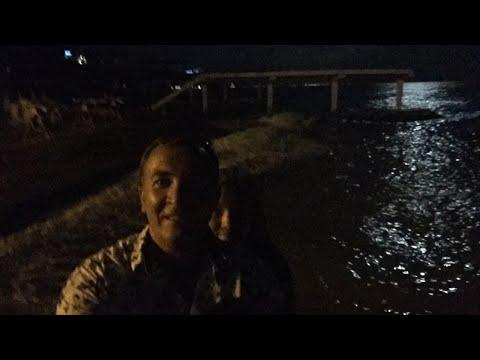 Черное море ночью. Прогулка по берегу моря