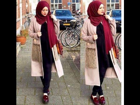 3bc5e4f110dd4 أجمل ازياء المحجبات شتاء 2017 ملابس شتوية للمحجبات - winter hijab outfits  -part 8
